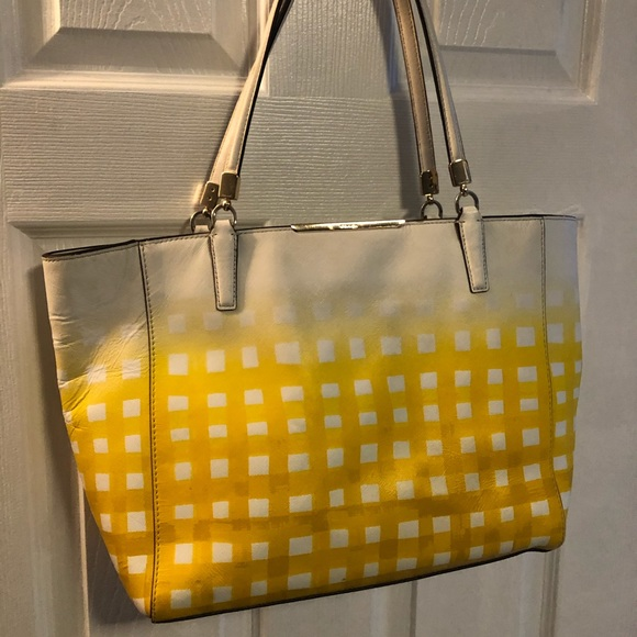 Coach Handbags - Coach Gingham Madison North/South Leather Tote